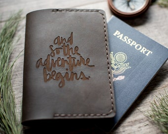 Personalized Leather Passport Wallet, Leather Passport Holder, Monogram Passport Cover | And so the adventure Begins