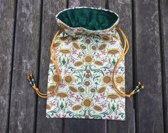 Sunflower Damask Tarot / Oracle Bag Lined with Dark Forest Green Dupion Silk