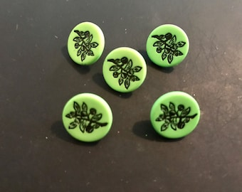 Green Buttons with Black Leaf design