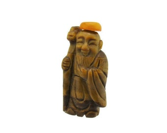 Tigers Eye Snuff Bottle / Carved Jurōjin Patron of longevity / Seven gods of Fortune/ShouXing Shou/Old Man of the South Pole / Star of Shou