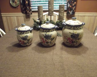 April Deal of the Month!!! ~(5.00 savings)~ RARE Certified International Corp CIC *-* FLORA *-* Pamela Gladding Canister 3 piece set
