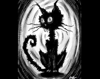 "Print 5x7"" - Lil Black Cat - Plus free ACEO - Cats Animal Spooky Halloween Cute Creepy Pets Gothic Fantasy Stray Dogs Dark Art Horror"