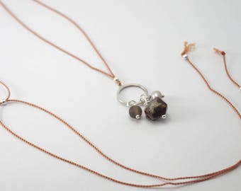 Precious Stone Pendant with Freshwater Pearl and Jasper on a variable Cord