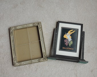 2 Vintage Wood Picture Frames - One Wood Swivel Frame- One Carved Wood Frame  - Vintage Frames