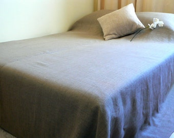 King coverlet natural linen bedspread, Linen bed cover, 100 % linen, Eco certified