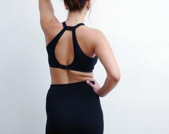 Black Yoga Bra / Yoga Bra Open Back Top / Yoga Sports Bralette / Pilates Bra / Pilates Clothing