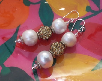 Elegant 11-12 mm Freshwater Pearl Earrings with Rhinestone Pave Gold Crystal Balls