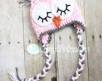 Crochet Owl Hat, Owl Beanie Sleepy Owl Hat Easter Owl hat Boys Girls Owl hat Newborn Baby Owl Beanie Hat