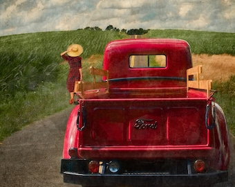 Pickup Truck Art. Fine Art Photography. Red. Classic. Vintage. Photographic print. Home or Office Decor.