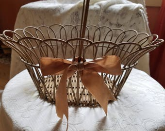 Vintage basket, Wicker & wire basket, Mid century decor, Rattan wire basket with handle