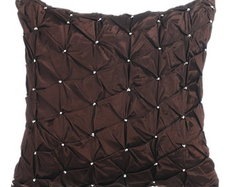 Chocolate Brown Couch Cushion Covers 16 x 16 Pillow Covers Taffeta Embroidered Decorative Pillows - Chocolate Texture