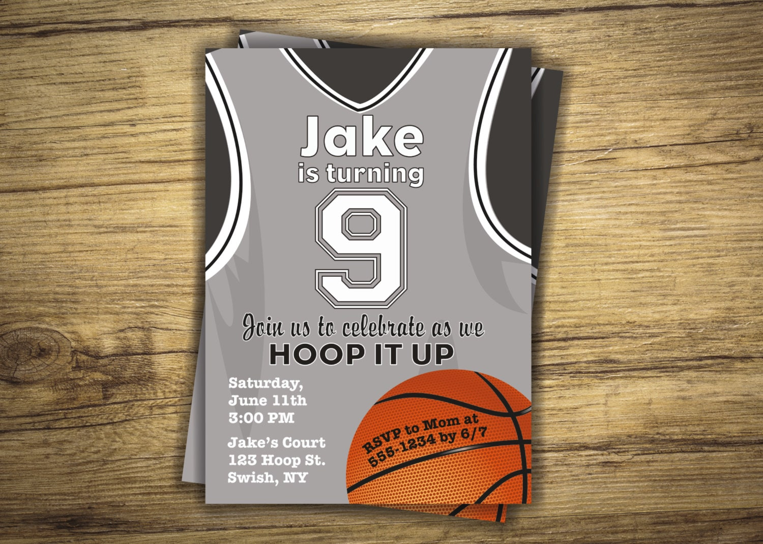 Basketball Birthday Party Invitation Basketball Jersey