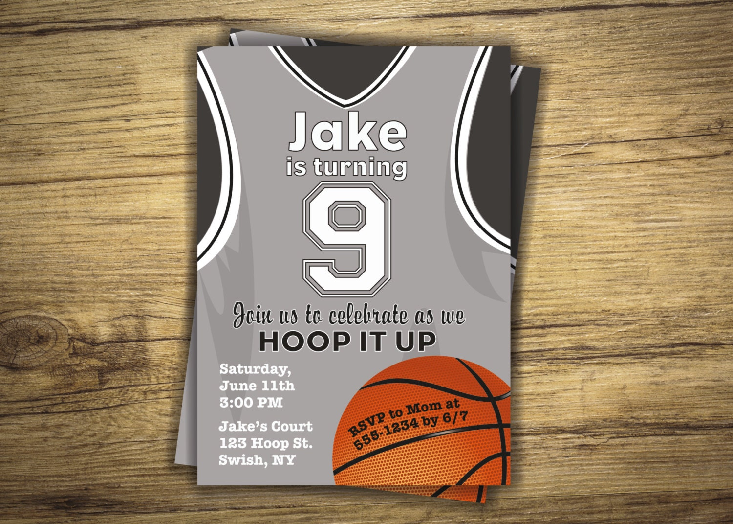 Basketball birthday party invitation basketball jersey zoom stopboris Gallery