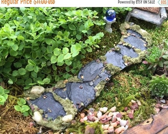 SALE Miniature Stone Moss Path, Walkway, Fairy Garden Accessory, Garden Decor, Miniature Gardening