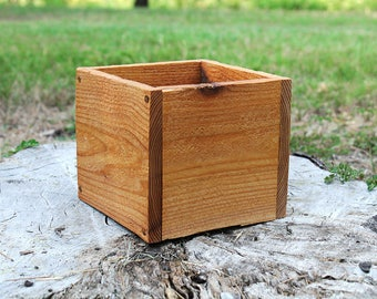 "New Square Planters Box 5"", 6"" and 8""L (5"" - 5.75""H - Tall), Cedar Planter Box, Centerpiece, Wooden Box, Herb, Garden, Storage, Succulent"