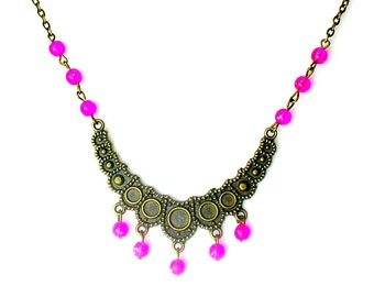 Fuchsia pink beads necklace, Beadwork bib collar necklace, Jewellery gift for her, Antique brass jewellery, Bronze jewellery, 1920s jewelry