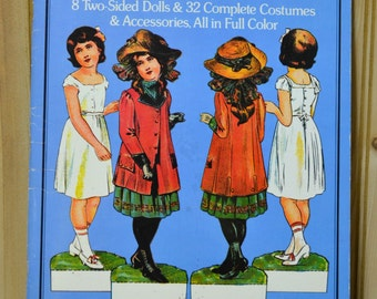 Vintage Antique Paper Dolls   The Edwardian Era 8 -  2 sided Cut Outs  Never Used  1975 Uncut Paper Ephemera