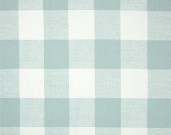 Snowy Blue Buffalo Check Curtains. Pair of 2 Drapery Panels. Gingham. Bedroom Window Treatments.