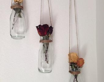 Milk Bottle Shabby Chic Home Decor Vase  - Set of 3 Handmade in Cute Hand Painted Hummingbird Box