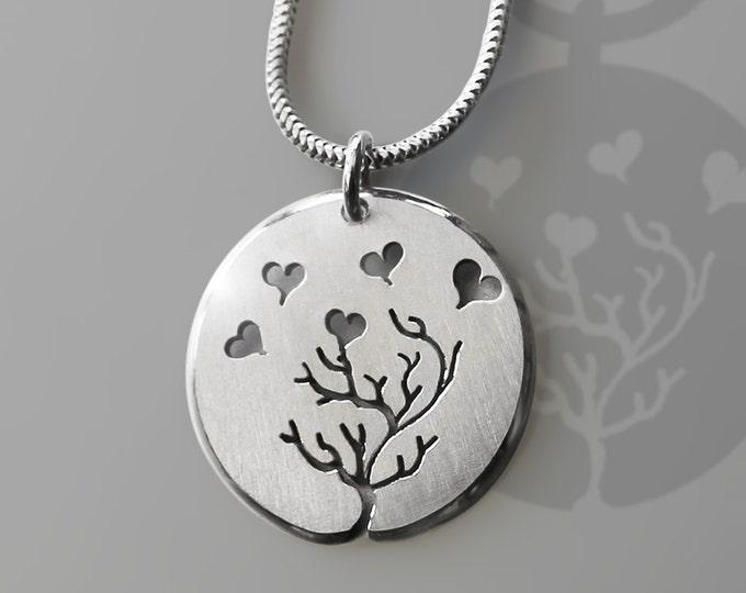 Love Pendant, Sterling Silver Pendant, Silver Jewellery.