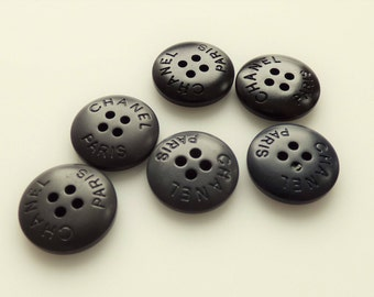 Chanel Paris Acrylic Black Flat Basic Buttons New Authentic 15mm  / Price is for one button