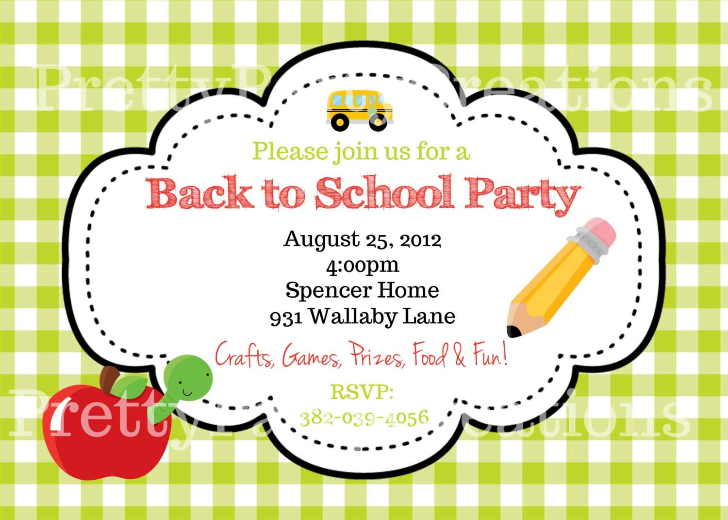 BACK to SCHOOL party invitation YOU Pint
