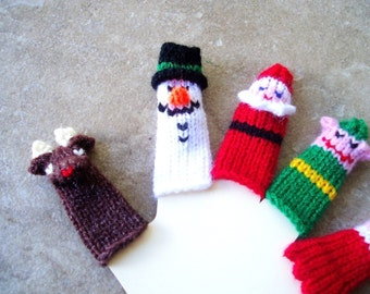 Christmas Finger Puppet Set (Santa, Mrs. Santa, Rudloph, Snowman, and Elf.)  We can create custom orders.