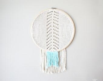 "DIY Knitting PATTERN - Chevron Fringe Dreamcatcher Inspired Wall Hanging  Size: 14"" diameter (2015010-2) Bohemian, Doily, Dream catcher"