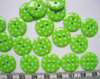 30 pcs of   Bright Polka Dot  Button in Green - 15mm