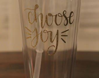 Choose Joy Gold Glitter Tumbler with straw