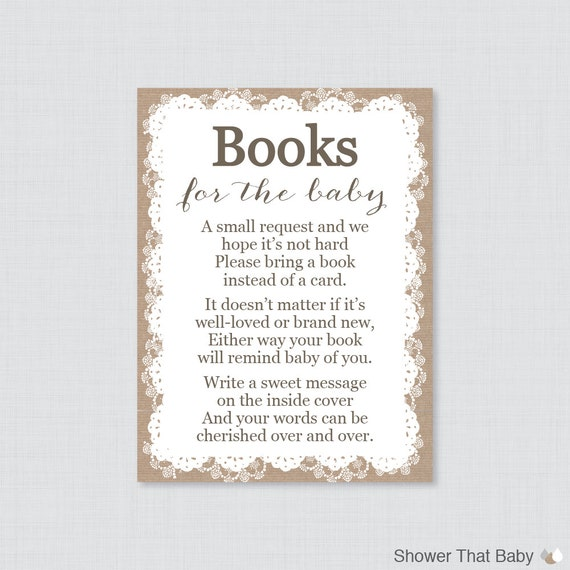 Attractive Printable Burlap And Lace Baby Shower Bring A Book Instead Of A Card  Invitation Inserts   Stock Babyu0027s Library Cards   Burlap Lace 0063