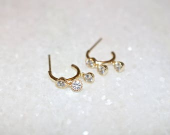 3 FINISHES AVAILABLE - Tiny Vermeil & Rose Gold huggie hoop earrings with hanging Zircon