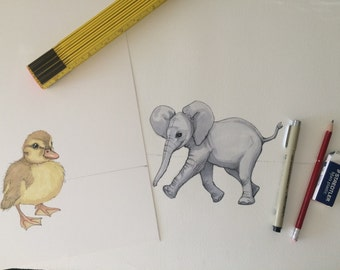Custom Baby Animals Nursery Art, Original Art, Custom Baby Duck Decor
