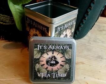 Alice in Wonderland Tea Time Tin. Alice in Wonderland Tea Storage Tin. Alice in Wonderland Tin Box. Storage Tin. Alice Tin. Alice Box.