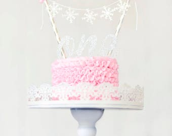 Snowflake cake topper, winter wonderland cake topper, smash cake topper