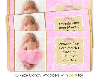 Pink and Gold Birth Announcement Candy Wrappers - fit over 1.55 oz chocolate bars, full size wrappers, baby shower or birth announcement