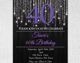 Elegant invitations etsy forty purple 40th elegant birthday party invitation silver and purple invitations elegant invitation filmwisefo Images