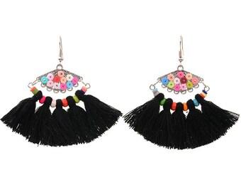 Black tassel earrings - surgical steel earrings, rainbow colourful unique statement earrings, stainless steel, nickel free, hypoallergenic