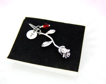 Rose Necklace, Silver Rose Charm, Valentines Day Gift, Gardening Gift, Personalized Gift, Best Friend Gift, Coworker Gift, Romantic Gift