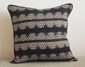 Black cushion cover with cream diamond design, throw cushion, throw pillow cover, cotton cushion, home decor, pillow, decorative cushion