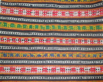 Antique19th TRADITIONAL folk Wool Hand-Woven Rug /fabric VINTAGE DECOR