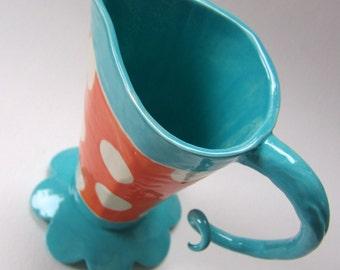 Whimsical turquoise & orange polka dot pottery Vase or Pitcher Alice-in-Wonderland home decor