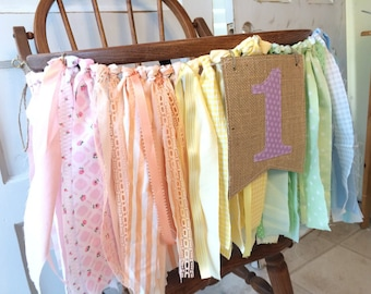 Girls High Chair Banner. First Birthday Party Supplies.  Shabby Chic High Chair Banner with Burlap Flag.