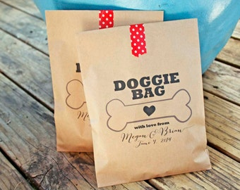 Wedding Favor Bags - Doggie Bag - Dog Treat Bag - Customizable from your pet - Puppy Wedding - Birthday, anniversary, parties - 20 Bags