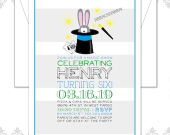 Magician Party Birthday Invite, Magic tricks party, Bunny in a hat, rabbit in a magician's hat, retro invite, boy or girl magician party