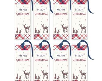 Printable Christmas Tags - Tartan Gift Tags - Christmas Gift Tags - Set of 8 Christmas Tags - Tartan Deer and Bunnies
