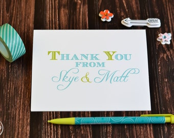 Wedding Thank You Cards / Bridal Shower Thank You Notes / Wedding Thank You Cards / Couples Stationery / Wedding Stationary