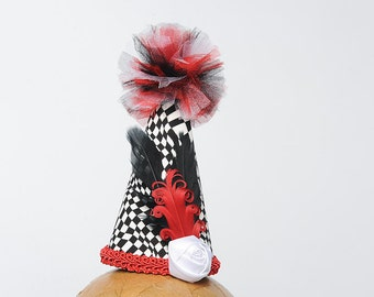 Clown Hat Black and White Checker with Black, Red and White Accents