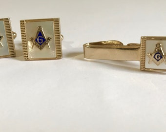 Vintage Mother of Pearl Masonic Cuff Links and Tie Clip