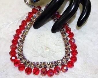 Pretty Siam Red AB Rhinestone and AB Crystal Bead Fringe Necklace